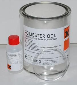 Fotografía de envase de 1 litro de resina de poliester con catalizador